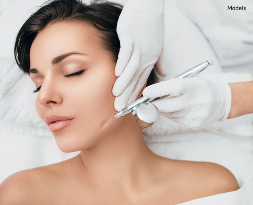 A woman about to begin her light chemical peel treatment to quickly address fine wrinkles, acne, and uneven skin tone.