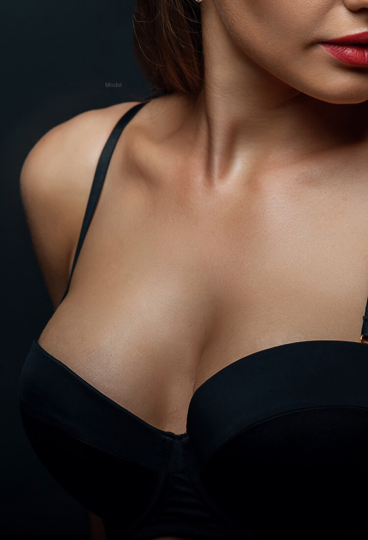 up close of woman's cleavage