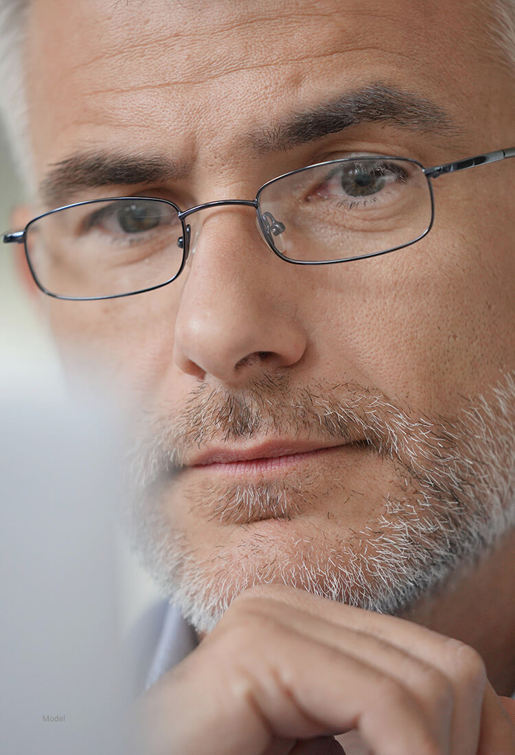 Up close of man with glasses