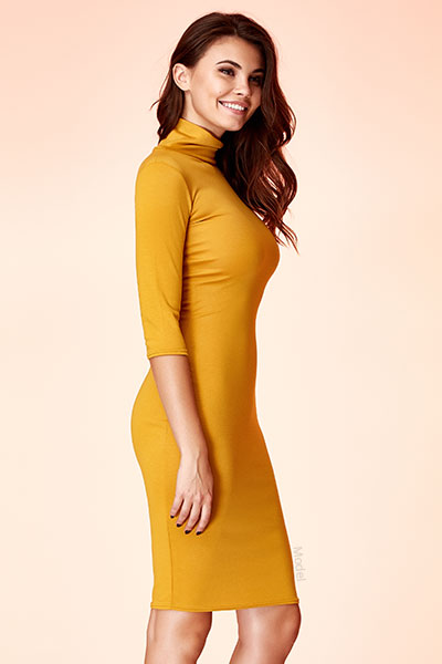 Slim woman in yellow dress